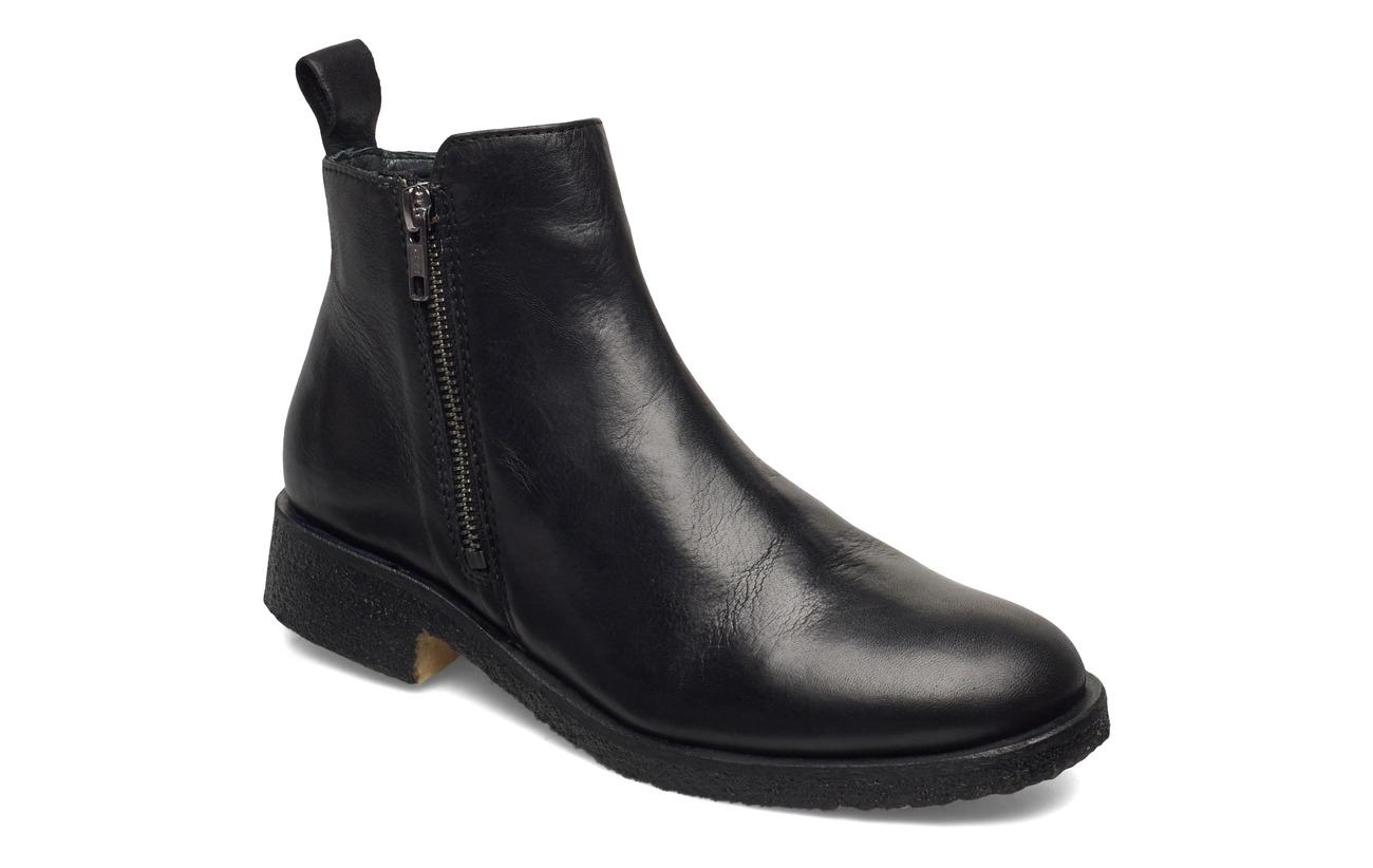 Shoe Biz Short boot with fur & zip - BLACK