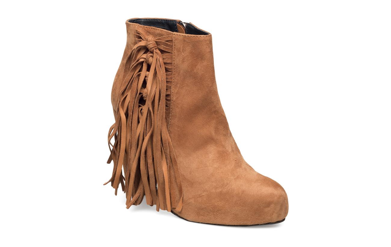 Shoe Biz High Heeled Short Boot with fringes - CAMEL