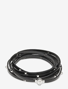 AREZZO black bracelet w/pyramid studs 57cm - bangles - leather