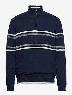 Knit - half zip jumpers - duke blue