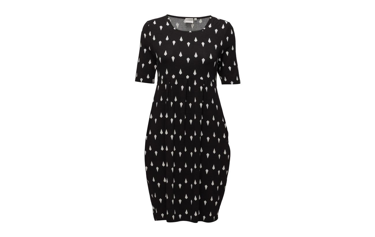 95 5 Elastane jersey Signature Black Dress Viscose 70668n
