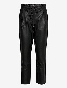 MILAN - leather trousers - black