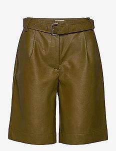ALBERTHA - leren shorts - nutria