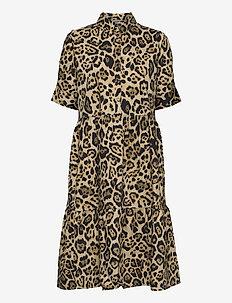 COTA - zomerjurken - beige leopard