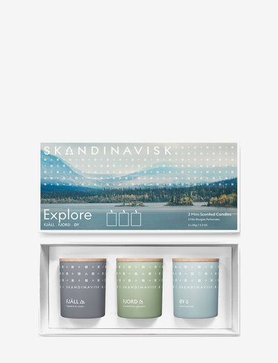 EXPLORE(Fjåll, Fjord, Øy) 3x 65g mini candle TRIO set - doftljus - multi