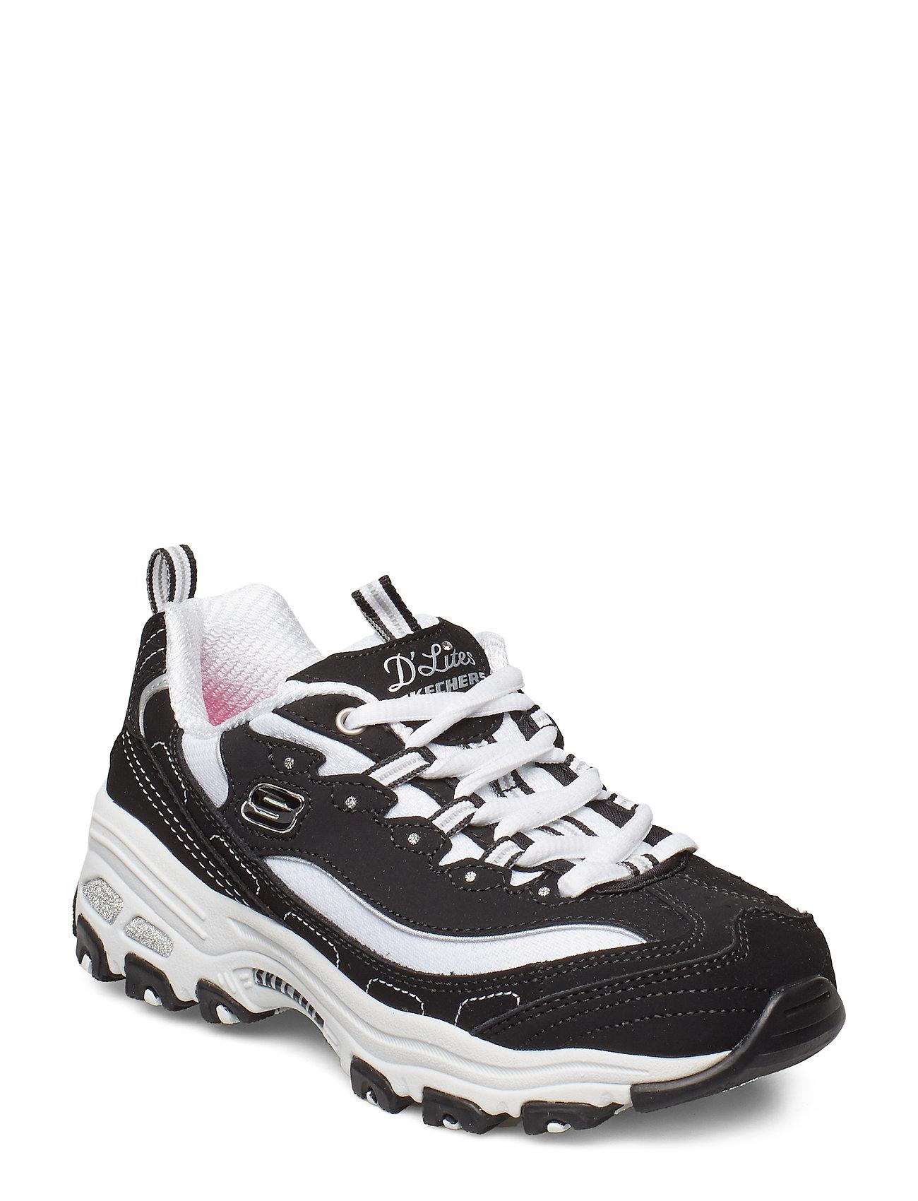 Skechers Girls D'Lites - BLACK WHITE