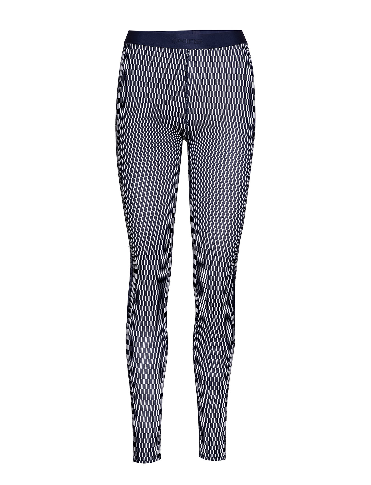 Skins DNAmic Womens Long Tights - TEXTURED SQUARE NAVY/WHITE