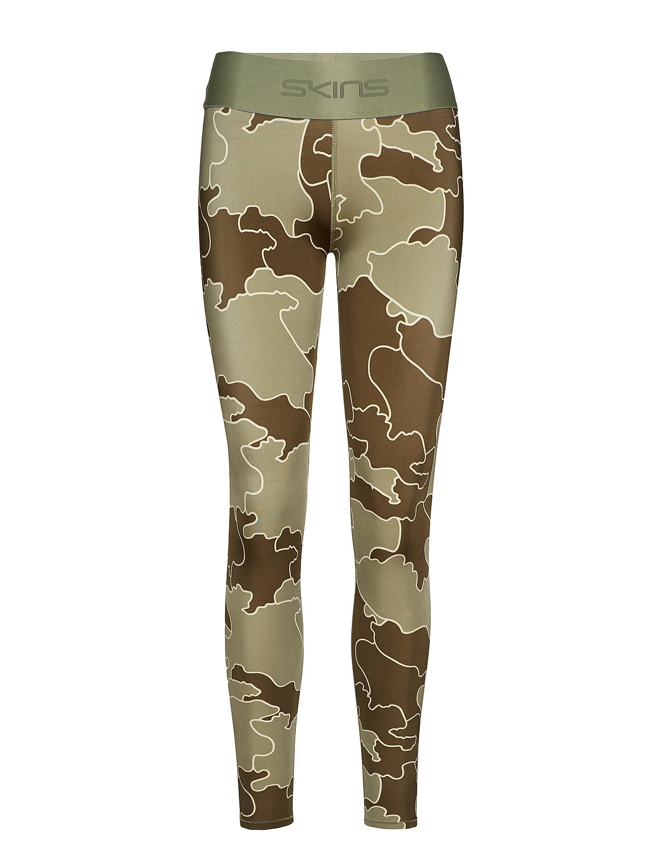 Skins DNAmic Primary Womens Long Tights - MYRIAD OF COASTLINES OLIVE GREEN