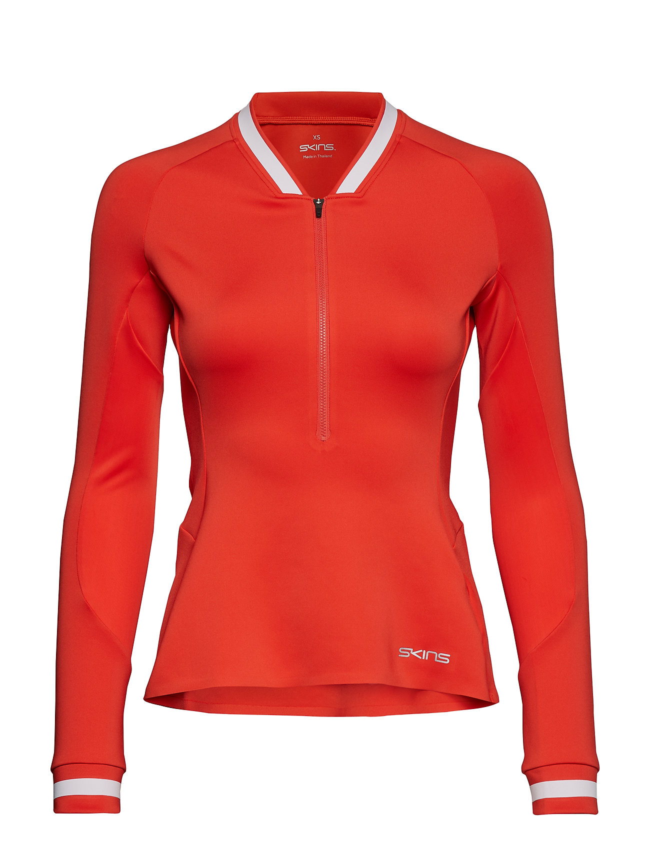 Skins Activewear Holm Womens Training L/S Fleece 1/2 Zip - CORAL RED/WHITE