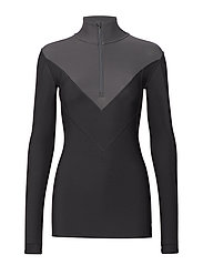 DNAmic Thermal Womens L/S MckNeck w zip - BLACK/CHARCOAL