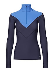 DNAmic Thermal Womens L/S MckNeck w zip - NAVY BLUE/BRIGHT BLU