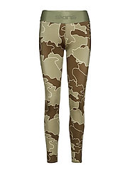 DNAmic Primary Womens Long Tights - MYRIAD OF COASTLINES OLIVE GREEN