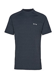 Activewear Bergmar Mens Active Top S/S Round Neck - NAVY BLUE MARLE
