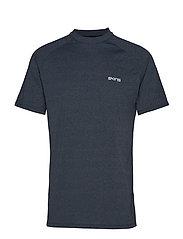 Activewear Bergmar Mens Active Top S/S Round Neck - NAVY BLUE MARLE