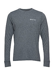 Activewear Bergmar Mens Active Top L/S Round Neck - CHARCOAL MARLE