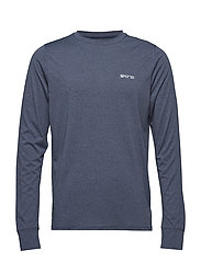 Activewear Bergmar Mens Active Top L/S Round Neck - NAVY BLUE MARLE