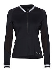 Activewear Holm Womens Training L/S Fleece 1/2 Zip - BLACK/WHITE