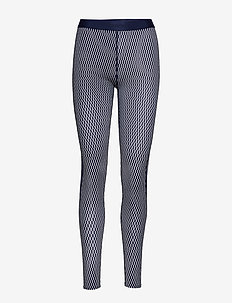 DNAmic Womens Long Tights - TEXTURED SQUARE NAVY/WHITE