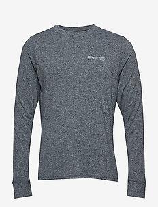 Activewear Bergmar Mens Active Top L/S Round Neck - CHARCOAL MARLE