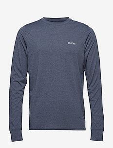 Activewear Bergmar Mens Active Top L/S Round Neck - NAVY BLUE MARLE