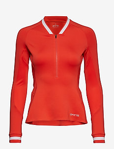 Activewear Holm Womens Training L/S Fleece 1/2 Zip - CORAL RED/WHITE