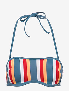 L. bandeau bra - bikini tops - bluered stripe