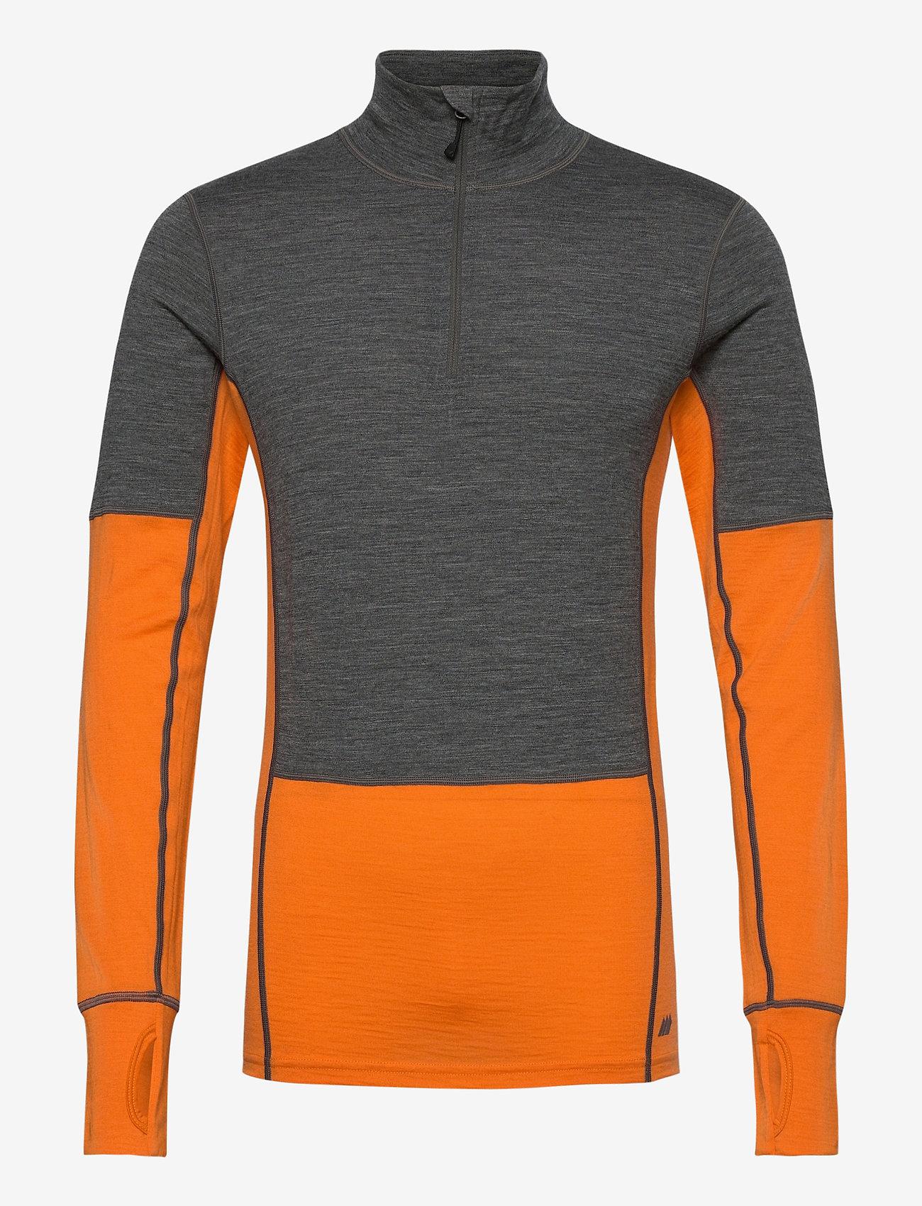 Skogstad - Røstene merino wool half-zip - funktionsunterwäsche - oberteile - jaffa orange - 0