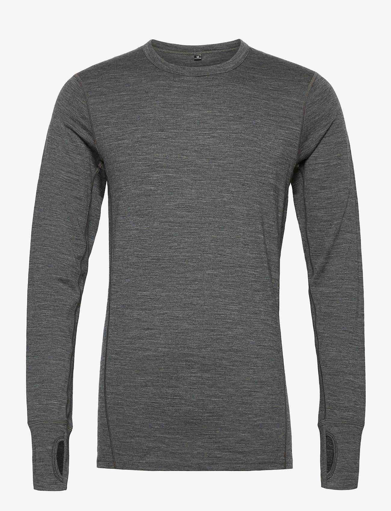 Skogstad - Leknes merino wool sweater - basic strik - mid grey melange - 0