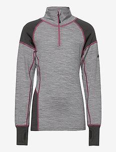 Videseter Merino wool half-zip - langermede t-skjorter - casio grey