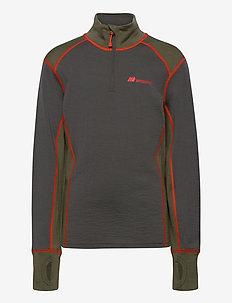 Jostedal Merino wool half-zip - long-sleeved t-shirts - dark grey