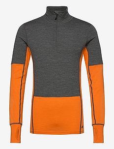 Røstene merino wool half-zip - funktionsunterwäsche - oberteile - jaffa orange
