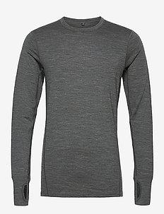 Leknes merino wool sweater - basic strik - mid grey melange