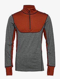 Røstene merino wool half zip - MID GREY  MELANGE
