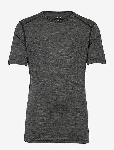 Lihesten merino wool t-shirt - korte mouwen - mid grey melange