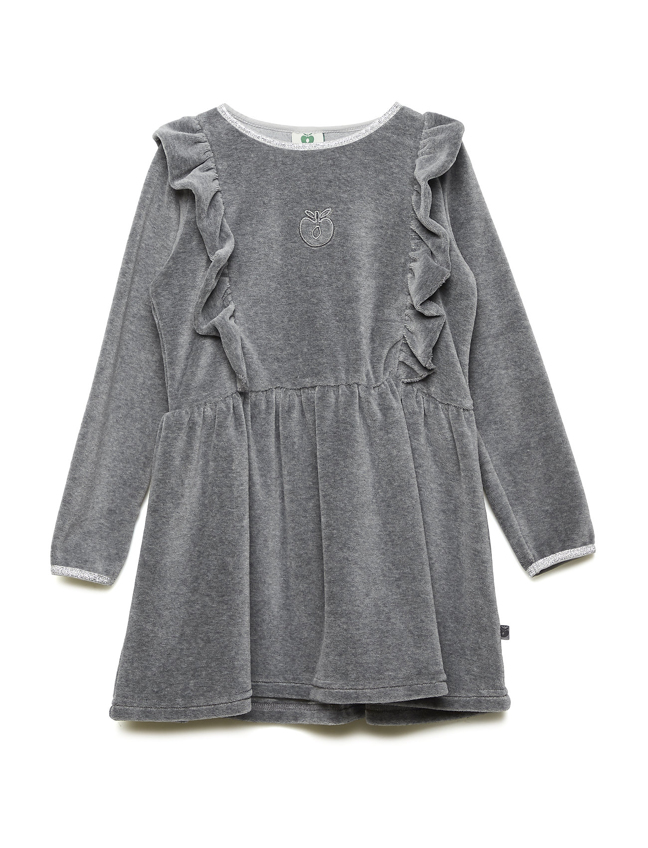 Småfolk Dress LS. Velvet. Solid/Apple - M. GREY MIX