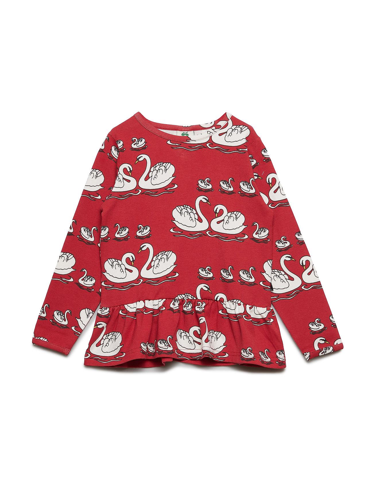 Småfolk T-shirt LS. Swan. - DARK RED