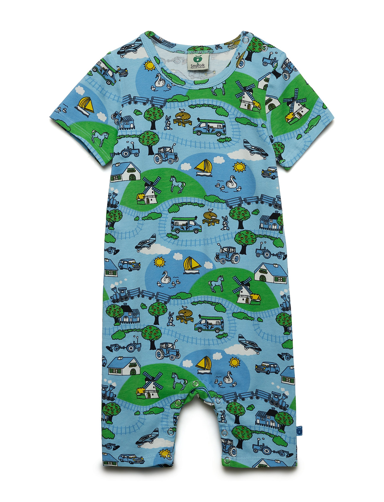 Småfolk Body Suit SS/SL. Landscape - AIR BLUE