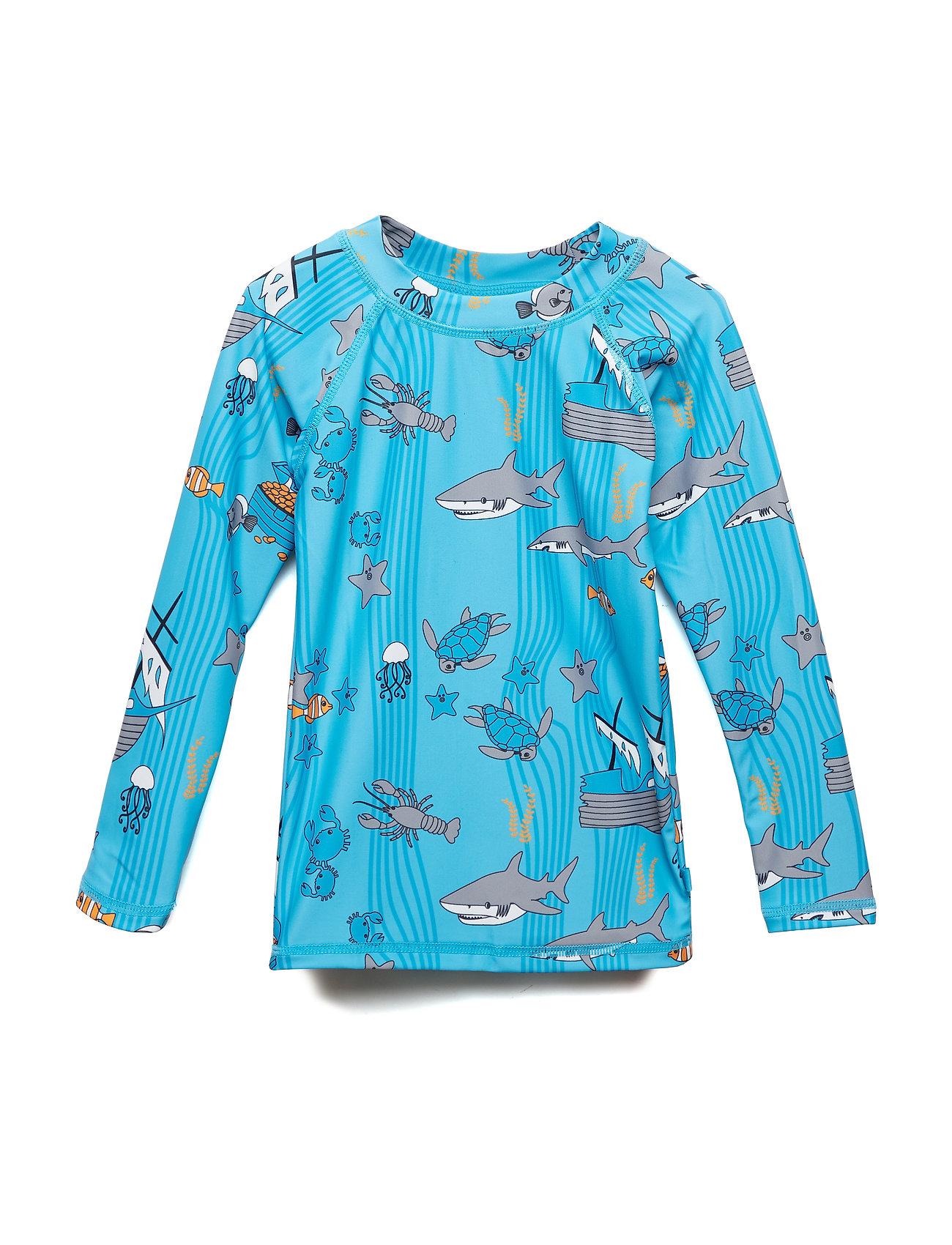 Småfolk Swim T-shirt, LS. Sea world - BLUE ATOLL