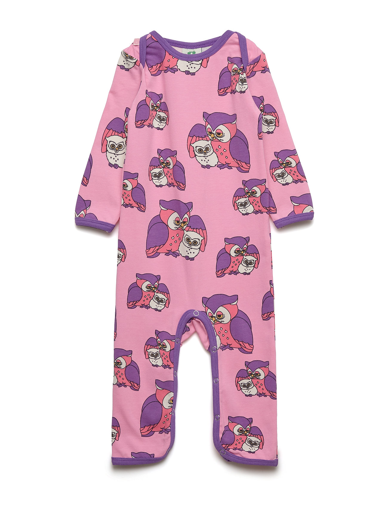 Småfolk Body Suit, Owl - SEA PINK