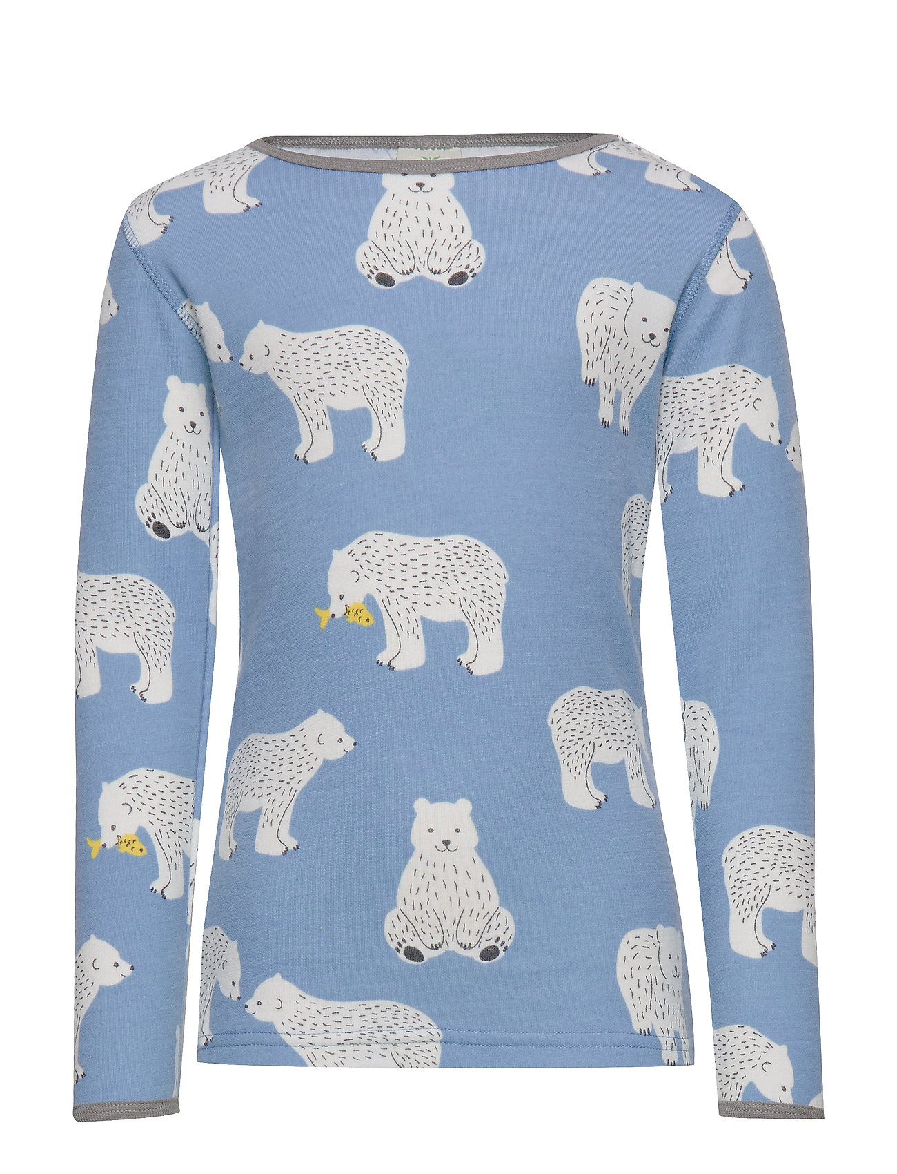 Småfolk T-shirt LS. Woolmix. Bear. - WINTER BLUE
