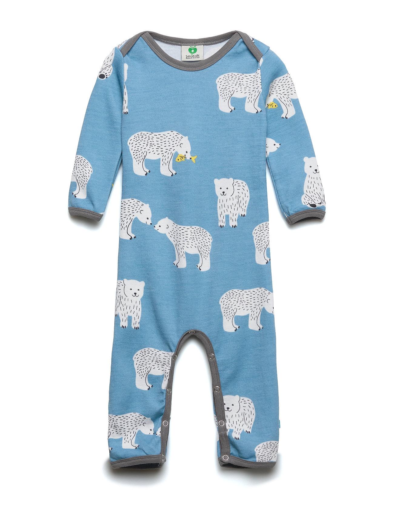 Småfolk Body Suit LS WoolMix. Bear - WINTER BLUE