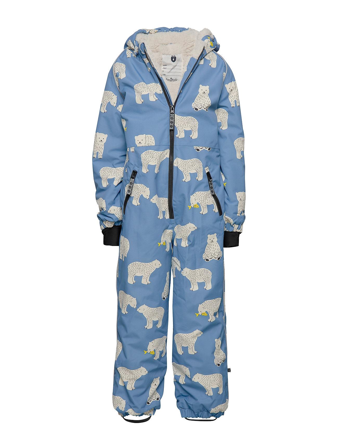 Småfolk Snowsuit, 1 zipper. Bear - WINTER BLUE