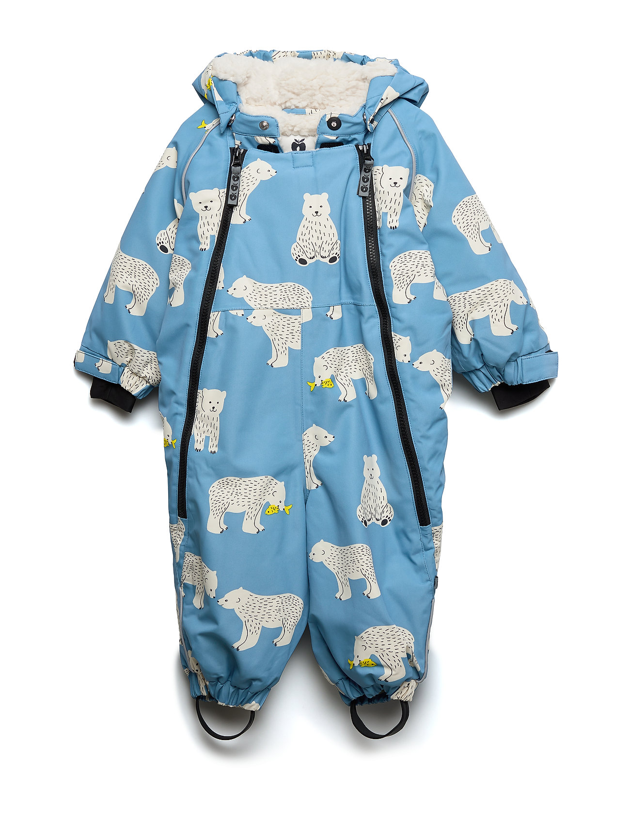 Småfolk Snowsuit, 2 zipper. Bear - WINTER BLUE