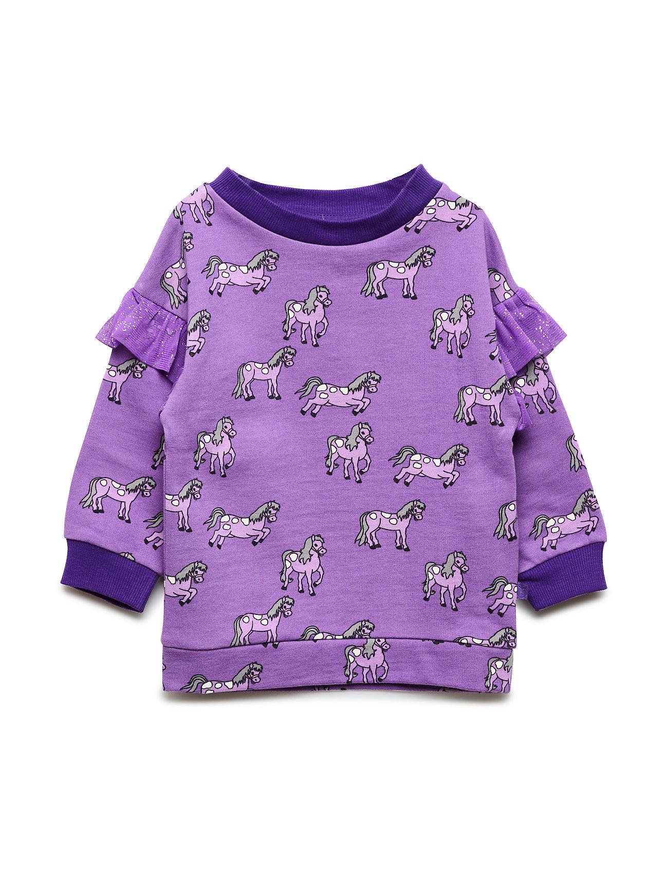 Småfolk Sweatshirt med heste - PURPLE HEART