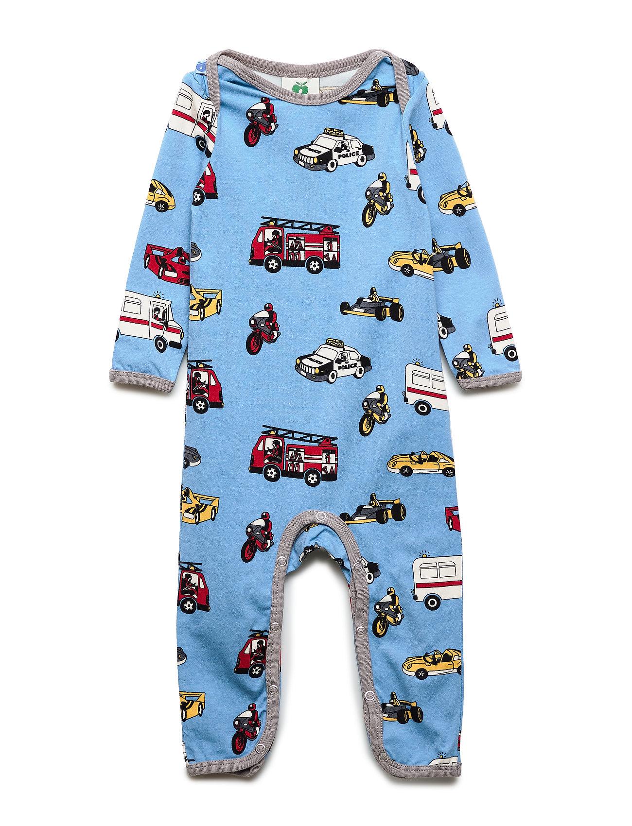 Småfolk Body Suit, Cars - WINTER BLUE