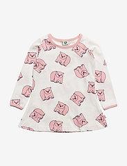 Småfolk - Dress LS. Polar bear - dresses - silver pink - 0