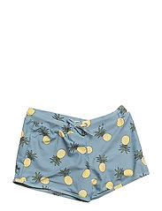 Swimshorts, short, with pineapple - STONE BLUE
