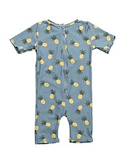 UV suit, short sleeve, with pineapple - STONE BLUE