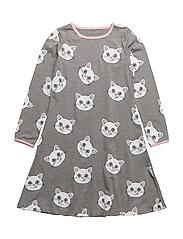 Dress LS. Cat face. - M. GREY MIX