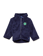 Fleece hood+zipper apple - MEDIEVAL BLUE